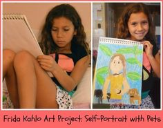 """Kids Learn about Frida Kahlo, Mexican Artist Extraordinaire through books, on-line lessons, and a """"self-portrait"""" art project. Art Lessons For Kids, Art Activities For Kids, Art For Kids, Hispanic Art, Self Portrait Art, Frida Art, Art Curriculum, Mexican Artists, Teaching Art"""