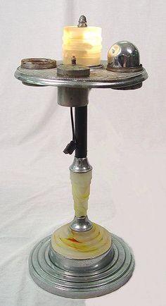 Vintage Art Deco Slag Glass Smoking Stand Ashtray With