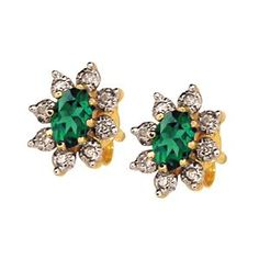 Emerald and Diamond Stud Earrings in a Flower Cluster Design #FlowerJewelry #FlowerEarrings #green | available at http://www.justjewellery.com.au/ViewProduct.aspx?ProductId=396