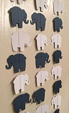 1 Elephant Paper Garland Navy Blue, Gray Chevron Double Sided Streamer, Baby Shower, Birthday Party, Baby Nursery