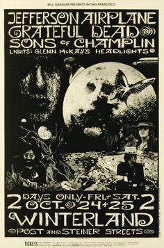 10/24-26/69 poster  BG197  Venue: Winterland, San Francisco, CA  Artist: Bonnie MacLean Graham