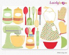 Retro kitchen bake set clip art by Lovelytocu