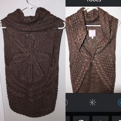 Romeo and Juliet Couture knit vest Cute brown knitted vest. Goes with everything!!! Has a hook closure in front is super comfortable and in LIKE NEW condition. Romeo & Juliet Couture Jackets & Coats Vests