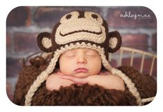 PDF Marvin the Monkey hat CROCHET PATTERN in 5 different sizes for babies and adults. $3.99, via Etsy.