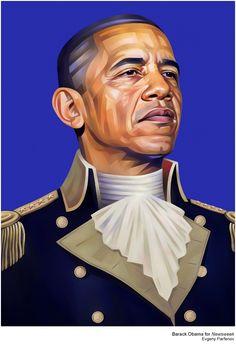Obama for Newsweek, Colbert for Adweek by Evgeny Parfenov, via Behance