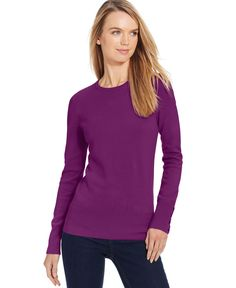 Jm Collection Petite Crew-Neck Button-Sleeve Sweater, Only at Macy's
