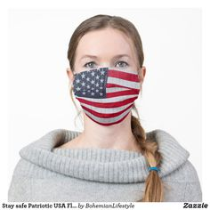 Shop *~* USA Patriotic Red White Blue American Flag Cloth Face Mask created by AnnaRosaEnergyArtist. Personalize it with photos & text or purchase as is! Flag Face, American Flag Stars, Star Spangled Banner, Look Vintage, Retro Vintage, Usa Flag, Red White Blue, Distressed Jeans, Clothing Patterns