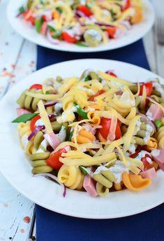 Sałatka makaronowa z szynką i żółtym serem Pasta Salad, Cooking, Ethnic Recipes, Food, Salads, Crab Pasta Salad, Kitchen, Essen, Meals