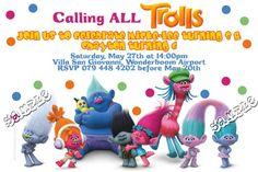 Trolls Birthday Party, Troll Party, 6th Birthday Parties, Birthday Fun, Birthday Ideas, 41st Birthday, Batman Birthday, 2nd Birthday Invitations, Monteverde