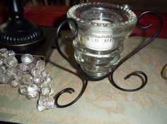 Vintage 1960's Glass Telephone Insulator/Candle Holder With Black Wrought Iron Stand