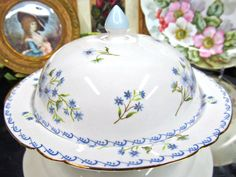 SHELLEY  MUFFIN WARMER COVERED BUTTER DISH BLUE FLORAL DESIGN  #BUTTERDISH