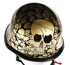 Gold Skull Graveyard German Novelty Motorcycle Helmet (Size 2XL, XX-Large). Gold German graveyard novelty motorcycle helmet with skulls. Fiberglass shell, Padded lining for comfortable fit. Nylon Y-strap retention system and adjustable quick release chin strap. Steel rivets secure Y-strap to shell, novelty helmets do not meet D.O.T. standards. How to measure for a motorcycle helmet. Use a fabric tape measure and measure the distance around your head just above your eyebrows. Then select a...