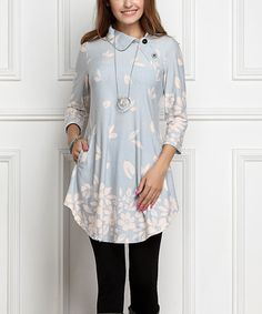 Another great find on #zulily! Gray Floral Shawl-Collar Button Tunic Dress - Plus Too by R&B #zulilyfinds