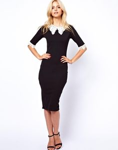 Lydia Bright Pencil Dress With Double Lace Collar and Cuff