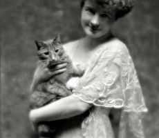 Lady & Ginger Tabby Cat, circa early 1900's