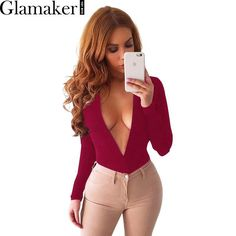 Glamaker Deep v neck long sleeve sexy bodysuit women tops 2016 Autumn fitness bodycon elegant jumpsuit romper casual overalls  #cute #instalike #love #instafashion #styles #fashion #iwant #pretty #shopping #instastyle