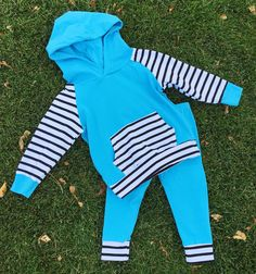 BLUE Taylor Stripe Hoodie Pant Set | Sparkle in Pink
