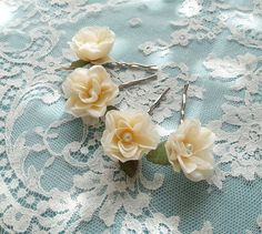 cream flower hair pins ivory flower hair clip by thehoneycomb, $36.00