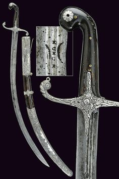 Ottoman kilij, century, curved, single and false edged blade with three… Swords And Daggers, Knives And Swords, Curved Swords, Saber Sword, Medieval Weapons, Arm Armor, Fantasy Weapons, Cold Steel, Katana