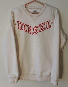 Diesel Shirt Men White XXL Cotton Pullover Long Sleeve Sweat  #diesel #SweatshirtCrew