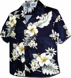 Luau Womens Tropical Hibiscus Camp Shirt Navy