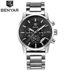 BENYAR Men's Luxury Business Leather Quartz Chronograph Wrist Watch – ChronographConnoisseur.com