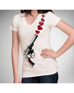 Shooting Hearts V-neck Junior Fitted Tee