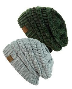Exclusive Unisex Two Tone Warm Cable Knit Thick Slouch Beanie Cap, 2 Pack - 2 Tone Olive & 2 Tone Gray: One Size Fits Most Soft Acrylic, Stretchable Unisex Style; Slouchy or Snug Fit Two-Tone Warm Knit Made in Korea Slouch Beanie, Ponytail Beanie, Beanie Hats, Knit Mittens, Knitted Gloves, Leather Baseball Cap, Cute Beanies, Shawls And Wraps, Hand Warmers