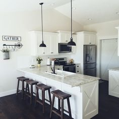 White cabinets Farmhouse Subway tile Fixer upper target bar stools formica