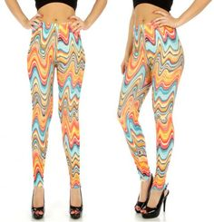 Teal/Orange Multi Color Swirl Print Cotton Blend Leggings in M/L and XL/2X