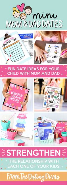 This is such a cute and easy way to get closer to your family; a mini date night with your kids! Love this adorable Mini Mom and Dad Dates Kit! www.TheDatingDivas.com