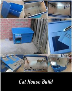 Build a simple outdoors cat house from insulation board and a plastic storage box