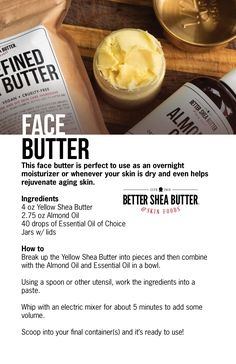 Shea Butter Face, Homemade Body Butter, Homemade Skin Care, Diy Skin Care, Facial For Dry Skin, Oily Skin, Unrefined Shea Butter, Lotion Bars, Butter Recipe