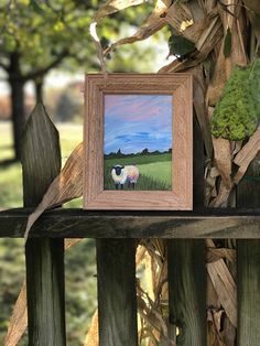 Impressionist sheep original acrylic - farmhouse style - Nursery decor - Barnyard critters