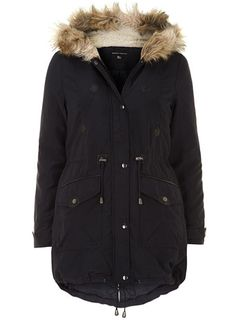 Navy faux fur trim parka from Dorothy Perkins