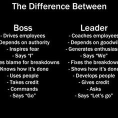 """See how does it work? Boss is kind rude and show his or her power or force. Compares with leaders, leaders are more considerable and care about people and group work. Generally, leaders need to be courageous, flexible, and kind. It is not hard to be a leader, but pay attention to step into a """"Boss"""". ;)"""