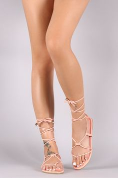 75d4f4fc1f2d Liliana Nubuck Lace-Up Gladiator Thong Flat Sandal Lace Up Gladiator Sandals