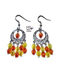 """Boucles d'oreilles chandeliers """"Jaune et orange"""" : Boucles d'oreille par mt-bijoux-creation"""