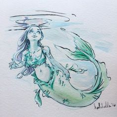 Blue mermaid #mermaids! #MondayMerms #watercolor