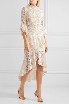 Ivory guipure lace Zip fastening along back  Fabric1: 100% viscose; fabric2: 100% nylon; trim: 92% nylon, 8% elastane; lining: 94% polyester, 6% elastane Dry clean Imported