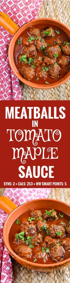 Slimming Eats Meatballs in Tomato-Maple Sauce - gluten free, dairy free, paleo, Slimming World and Weight Watchers friendly