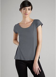 Eileen Fisher Scoop Neck Cap Sleeve in Stretch Silk. These are fabulous for travel: layer beautifully and can be washed in the sink and hung to dry overnight.