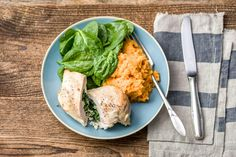 Spinach & Fetta Stuffed Chicken with Sweet Potato Mash