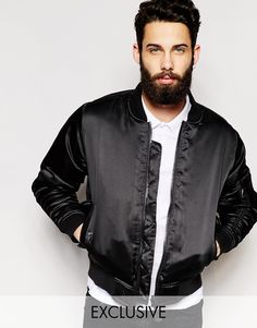 """Bomber Jacket by Reclaimed Vintage Super smooth fabric Ribbed collar Zip opening Functional pockets Ribbed cuff and hem Regular fit - true to size Dry clean 100% Polyester Our model wears a size Medium and is 185.5cm/6'1"""" tall Products vary due to reclaimed nature Exclusive to ASOS"""