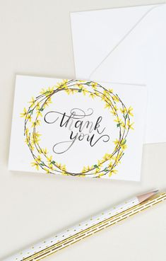 business thank you cards Thank you card with forsythia and watercolor calligraphy. The set includes 8 thank you cards and 8 white envelopes. Watercolor Birthday Cards, Watercolor Cards, Calligraphy Watercolor, Calligraphy Cards, Thank You Caligraphy, Calligraphy Birthday Card, Bday Cards, Birthday Thank You Cards, Thank You Card Design