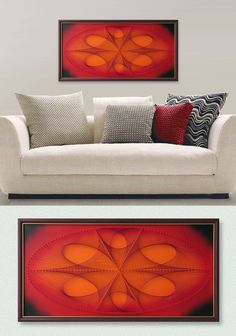 """Ellipse in Red Orange, Abstract Wall Decor, 3D Modern String Art, Framed 24,4""""x 12,6"""" (62x32cm) or 32,2""""x 17,7""""(82x 45cm), ready to hang - pinned by pin4etsy.com"""