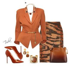 A fashion look from October 2016 featuring jackets, orange skirt and faux-suede skirts. Browse and shop related looks. Komplette Outfits, Classy Outfits, Stylish Outfits, Fashion Outfits, Womens Fashion, Party Outfits, Work Fashion, Fashion Looks, Fashion Fashion