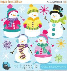 80% OFF SALE Snowman clipart commercial use, vector graphics, digital clip art, digital images  - CL585