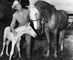 Roy Rogers 1911-1998. Roy and Trigger with a young foal, probably from a movie set, since the original Trigger didn't sire any colts.