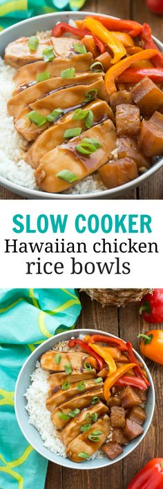 Slow cooker Hawaiian chicken, pineapple, peppers and rice make the perfect meal-in-one for summer! No need to turn on the oven for these Hawaiian Chicken Rice Bowls! http://www.thereciperebel.com/slow-cooker-hawaiian-chicken-rice-bowls/